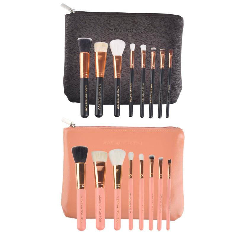 8pcs/set Makeup Cosmetic Brushes Set Wooden Handle with Zip PU Bag Makup Brushes Kit powder brush contour eyeshadow brush caso zip adapter set