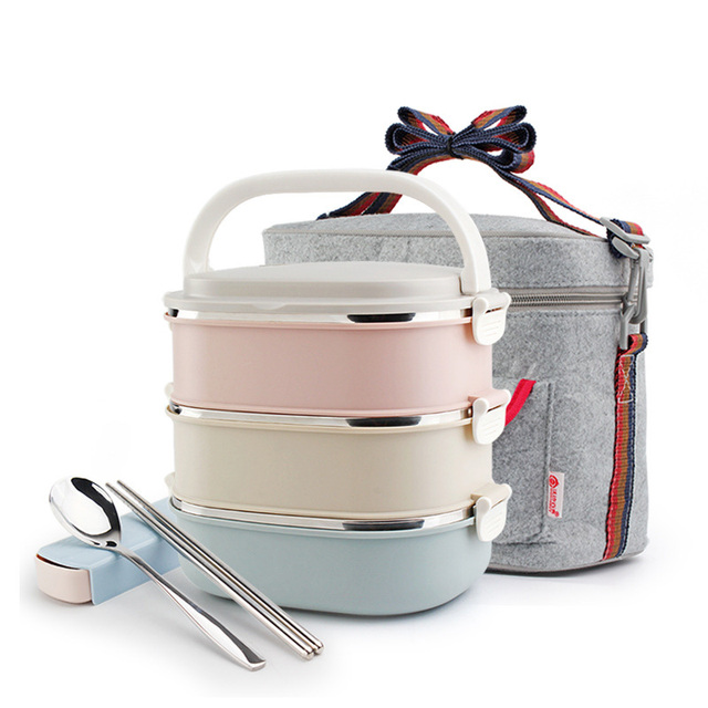 DUOLVQI Thermal Lunch Boxs Bento Box For Food Storage Camping Portable Picnic With Tableware Set Bag Container 1