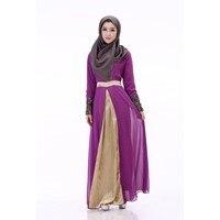 Elegan Muslim Women Embroidered Cuff Lace Dress Abaya Islamic Chiffon Maxi Dress