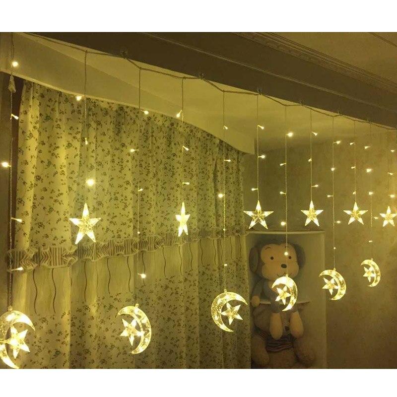 2.5m Moon and Star Led String Light, Eid Mubarak Led Lights Decoration, Wedding Birthday Party Led Supply, Led Curtain, 110-220V