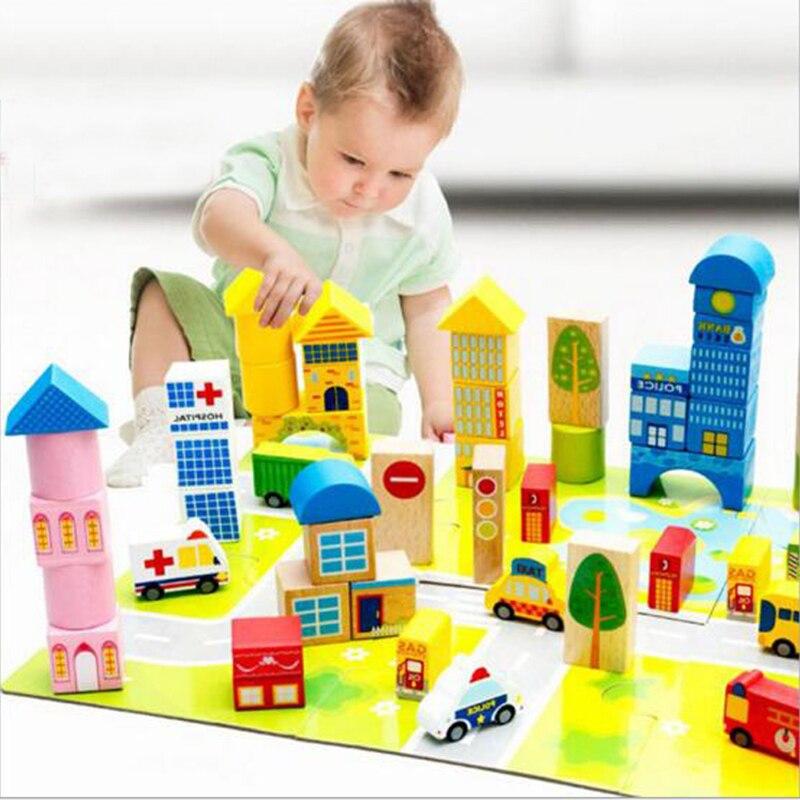 62 PCS 3D modelis Celtniecības bloki Koka rotaļlietas Bērnu mācīšanās Izglītības rotaļlieta Radošā pilsēta Satiksmes bloki Rotaļlietas bērniem
