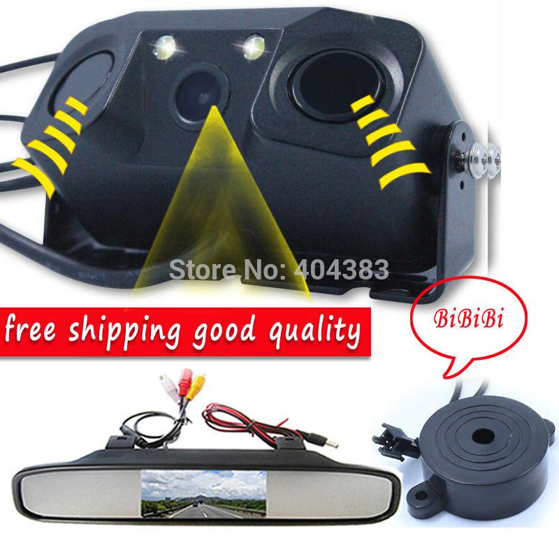 1 Sound Alarm CCD Car Reverse Backup LED Rear View Parking Camera Sensor Monitor + 4.3 inch LCD Car Video mirror Monitor