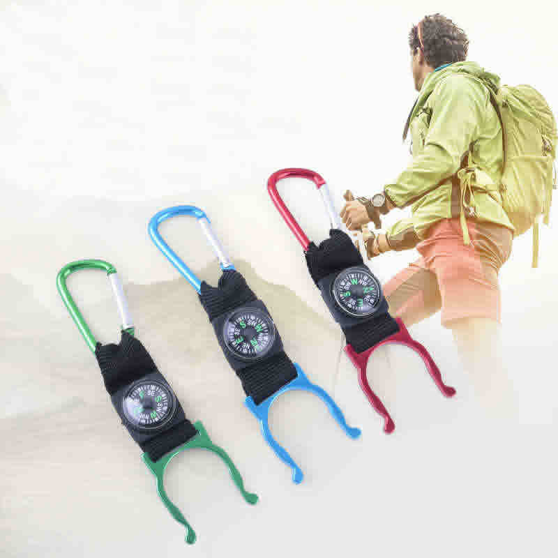 Outdoor Sports Kettle Buckle Carabiner Water Bottle Holder Camping Hiking Compass Rubber Hook High Quality Travel Accessories