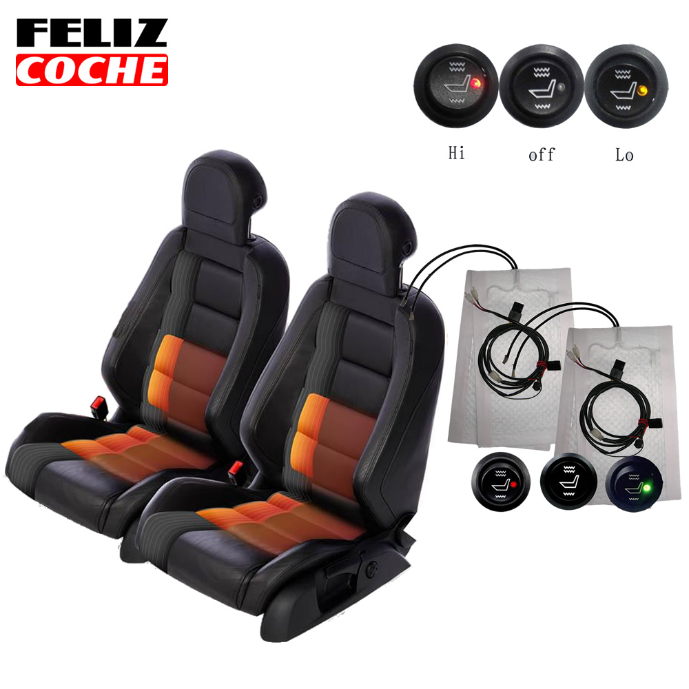 2 Seats 4Pcs Installed Car Seat Heater Universal Round Switch Carbon Fiber Heated Pads Warmer For Toyota A5107 In Automobiles Covers From