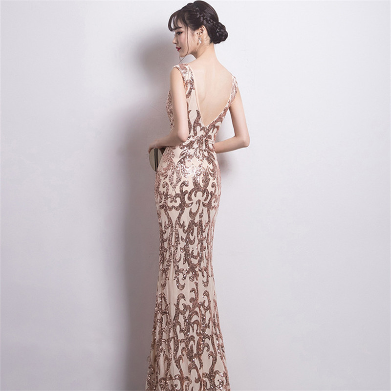 It's Yiiya Evening dresses V-neck Sequined Zipper back Trumpet Party Gowns Sexy Backless Floor-length Mermaid Prom dress C182