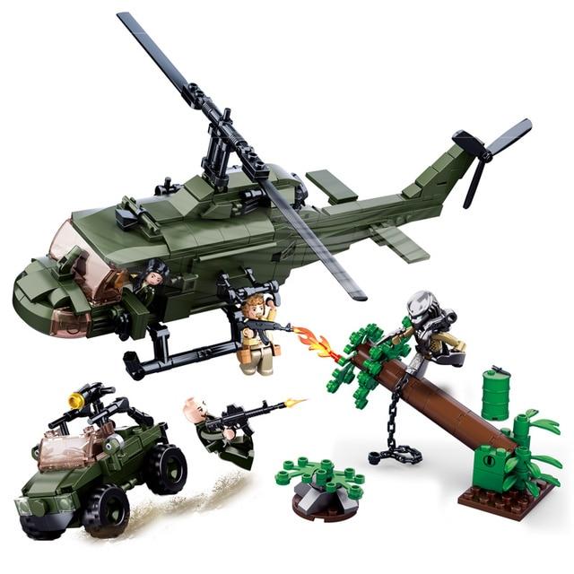 SLUBAN Alien Predator M18 Armored Vehicle Helicopter Building Block Set Movie Classic Kids Toys Gift Marvel Compatible Legoe