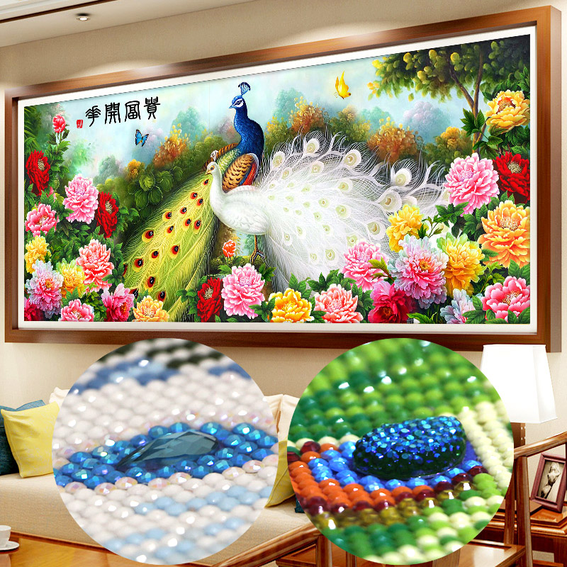 Diamond embroidery full round rhinestones special shaped Diamond cross stitch pictures Diamond mosaic houses flowers peacock