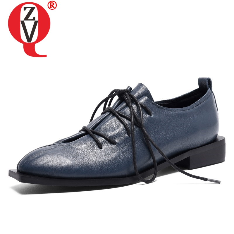 ZVQ women shoes spring new concise casual high quality genuine leather women pumps cross tied 2
