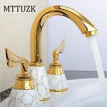MTTUZK комплект из 3 предметов смеситель для ванной комнаты на бортике кран для раковины Набор для раковины Керамический медный кран Золотой смеситель