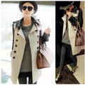 Hot sale  Women long pu leather sleeve jacket  England coat  Windbreaker