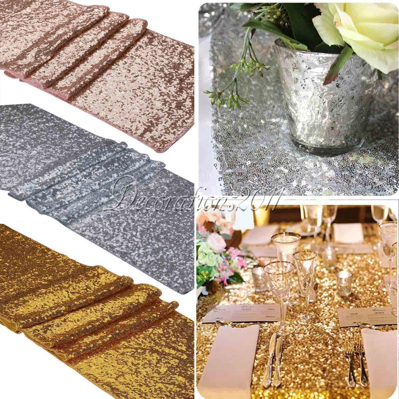 10pcs/lot 30x275cm Luxury Gold Sequin Table Runner Wedding Party Table Decoration Solid Color Gold Table Runners rose weddings