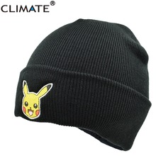 4b76eb31a6f CLIMATE Popular Cute Pocket Monster Go Headwear Pikachu Winter Warm Hat  Knit Beanie HipHop Ski Cap
