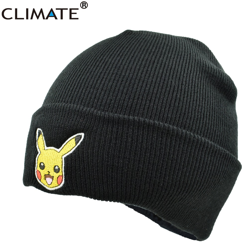 CLIMATE Popular Cute Pocket Monster Go Headwear Pikachu Winter Warm Hat Knit Beanie HipHop Ski Cap For Teenage Adult Men Women climate 2017 pocket monster go game pikachu flat snapback caps adult men women animation cartoon cute comic orange eevee hat cap