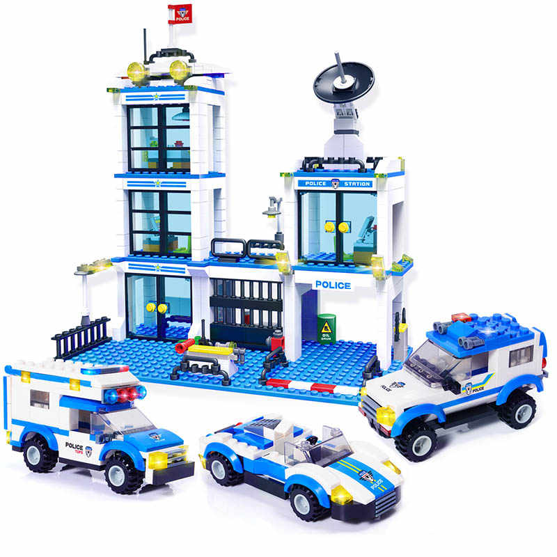 818pcs City Police Station SWAT Car Building Blocks Playmobil Boys Friends Bricks Figures Kids Toys for Children Adult GB27