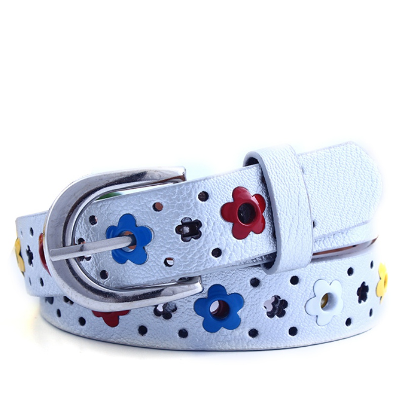 EFINNY Cute Kids Children Boys Girls Hollow Flower Waistband Faux Leather Belt Buckle Apparel Accessories