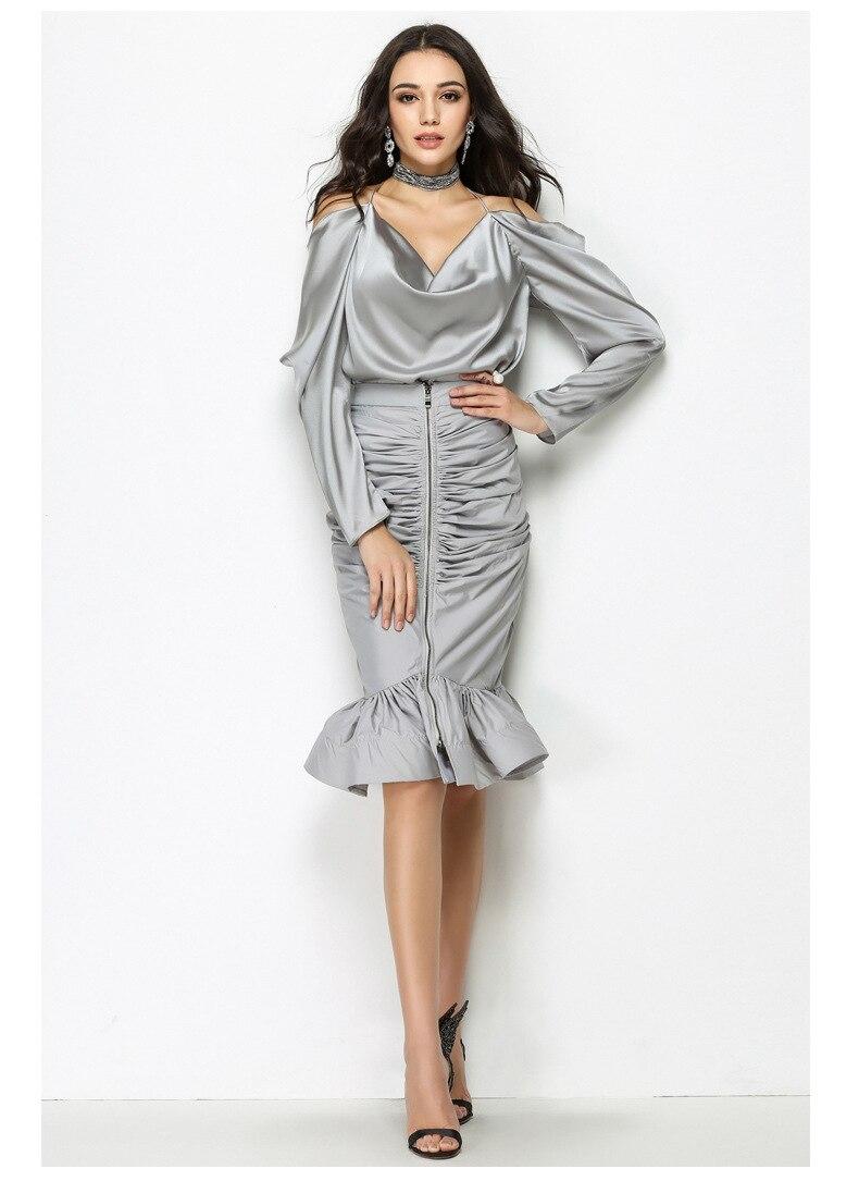 Bureau Dame L'épaule Slim Sans De Femmes Mode Chemises Halter Hors Sipaiya Blouses Sexy Shirt Dossier gris Complet Solide Manches Tops Lâche Noir xaFETnZwq