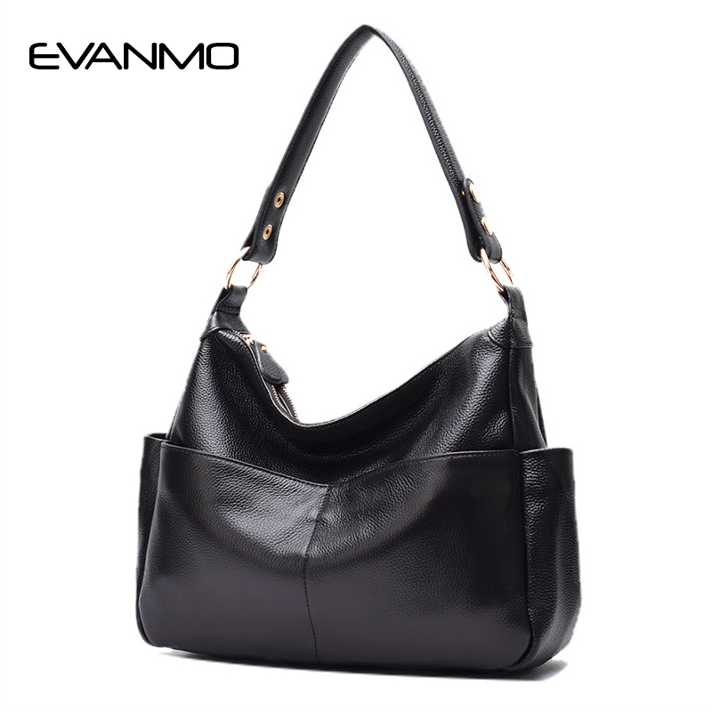 Classic Fashion Genuine Leather Women's Shoulder Bag First Layer Cow Leather Hobo Bag Cowhide Ladies Designer Shoulder Bags first layer cowhide luxury women messenger bag designer lady satchel purse fashion genuine leather cross body shoulder hobo bags