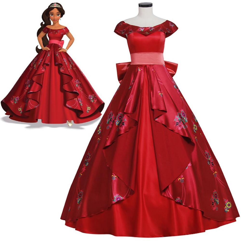Cheap Elena of Avalor Princess Elena Cosplay Costume Red Luxury Fancy Princess Dress Halloween Costumes For Girl Women Custom