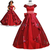 Cheap Elena Of Avalor Princess Elena Cosplay Costume Red Luxury Fancy Princess Dress Halloween Costumes For