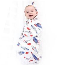 где купить Newborn baby blankets swaddle for baby wrap+hat set 100% Combed Cotton 90*90 cm Soft Shower Bath Towel infant Bedding Cover по лучшей цене