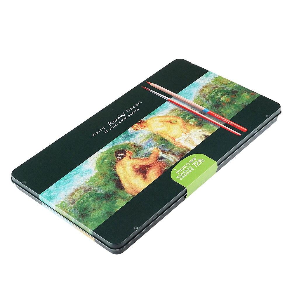 Marco-3120 Renoir crayons de couleur Art professionnel peinture crayon 48/72 couleurs ensemble pour dessin aquarelle peinture + pinceau - 2