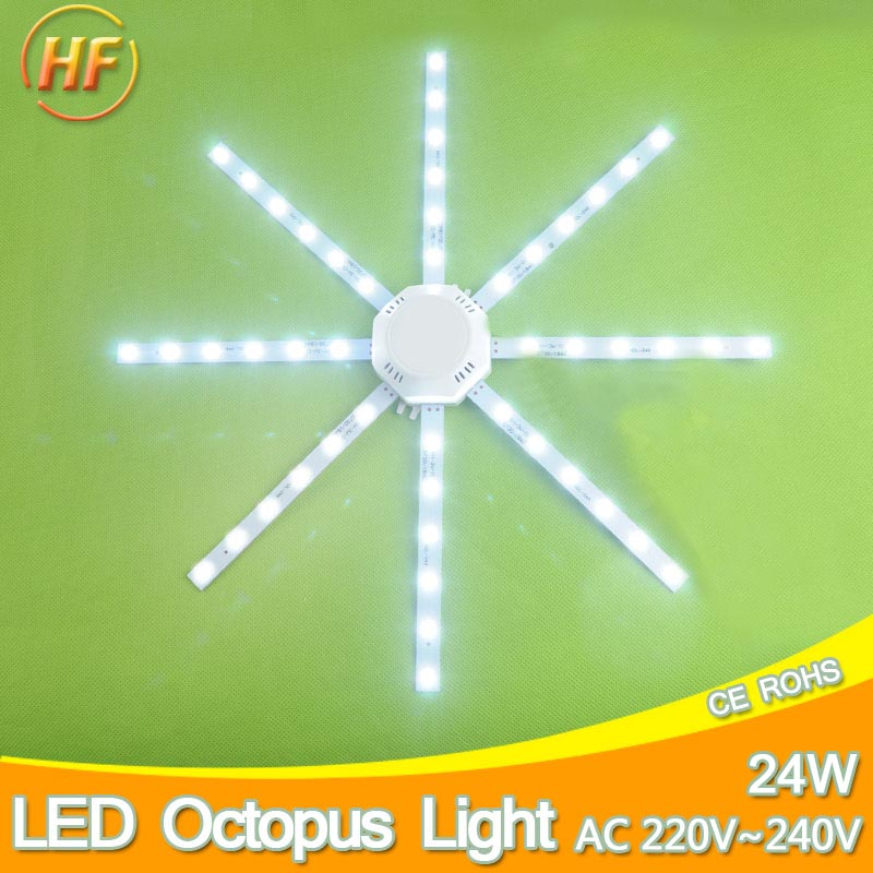 HighBright Ceiling Lamp 24W PCB Board Modified Light Source Led Bulb Plate Octopus Tube Lamp Plafon Accessory Ring Light Replace 3pcs 220v high pressure led lamp plate ceiling lamp renovation board lamp patch 12w bulb 60mm lamp patch