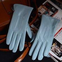 Delle Signore delle donne di 100% Vera Pelle pelle di Pecora di Inverno Caldo di Spessore del Rivestimento bianco guanti Colorati Blu Carino Outdoor Guanti Corti