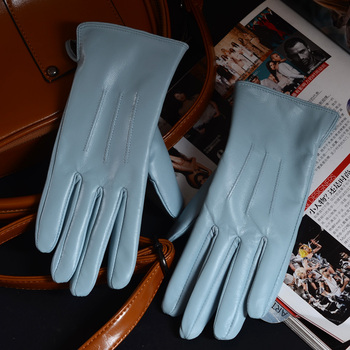 Nowych kobiet panie 100 prawdziwa skóra jagnięca zima ciepły niebieski krótkie rękawiczki sześć kolorów tanie i dobre opinie FINILUO Kobiety Genuine Leather Dla dorosłych Stałe Nadgarstek Moda