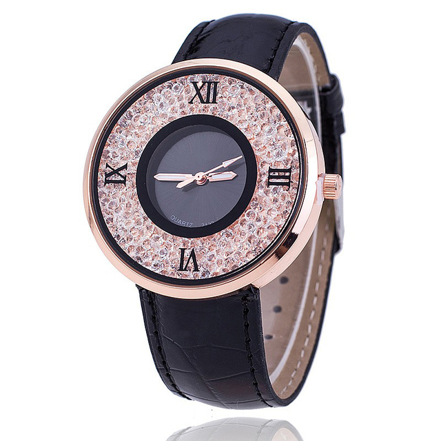 Brand Fashion Women Rhinestone Watches Luxury Leather Women Dress Watch Casual Q