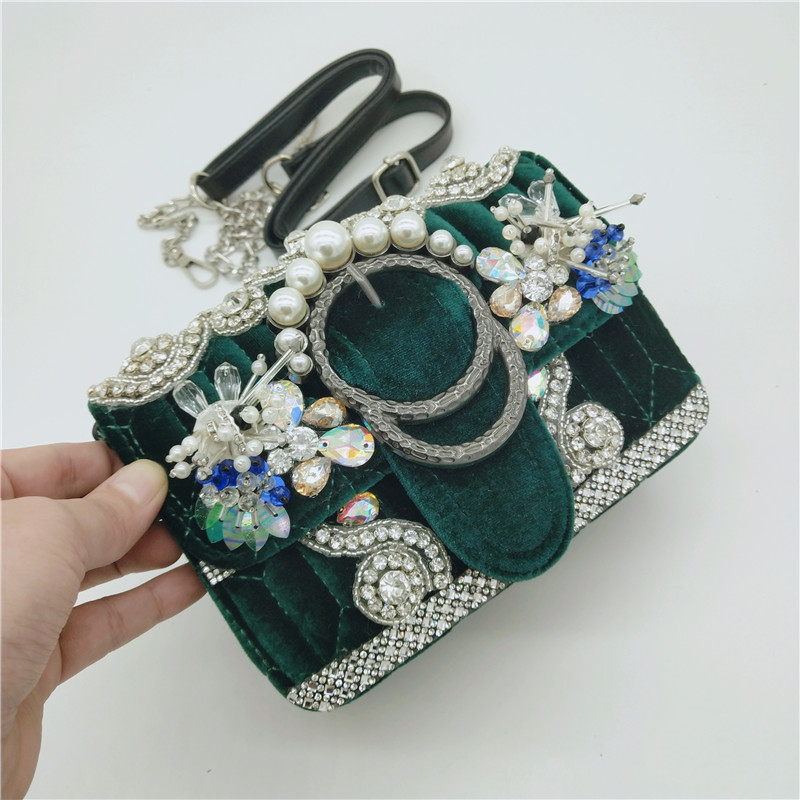 купить Luxury Women Shoulder Crossbody Bag Pearl Green Evening Clutch Bags Crystal Purse Metal Flower Velour Small Beads Handbag Wallet онлайн
