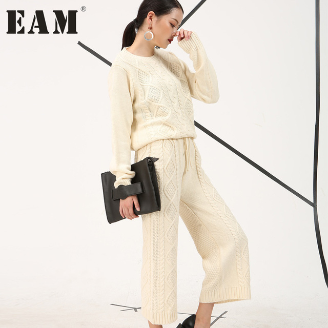 [EAM] 2017 autumn new Fashion round neck solid color beige knit sweater pants two piece thicken suit  Women fashion tide AS11670