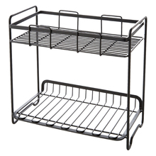 New Nordic Multifunctional Iron Storage Rack Condiment Double Layer Standing Holder Shelf for Home Bathroom Kitchen - Black