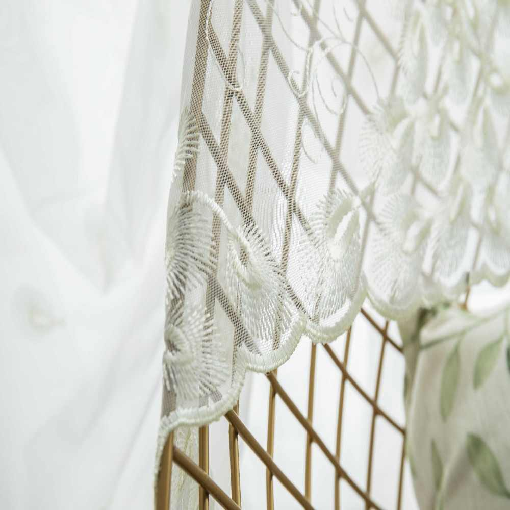White Embroidered Peacock Feather Window Screen Curtains For living room Sheer Drapes Mesh Fabric For Bedroom Tulle MY073#40
