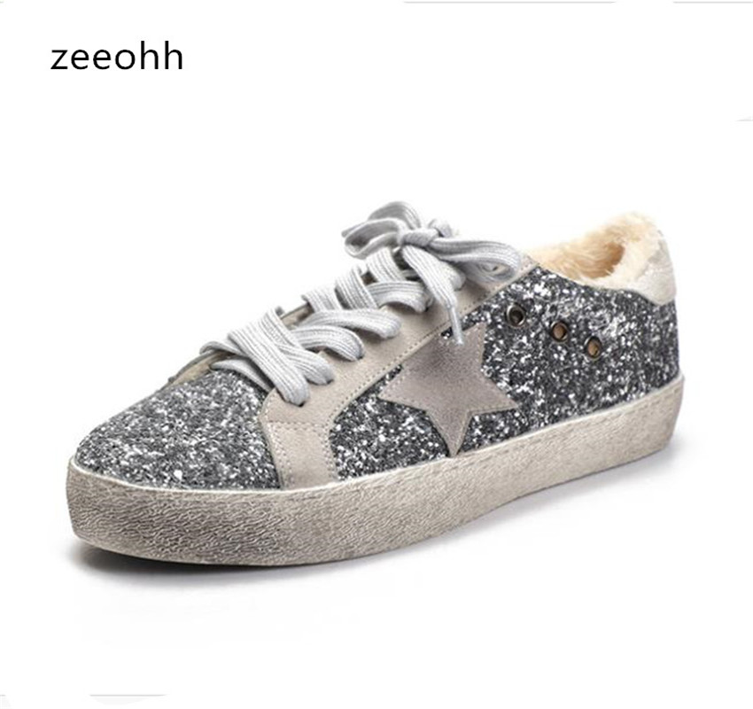 Detail Feedback Questions about zeeohh New Sneakers Shoes Women Leather Do  Old Dirty Shoes Retro Star Sequins Women Casual Trainers Mixed Color Zapatos  ... f6fa288d3cf9