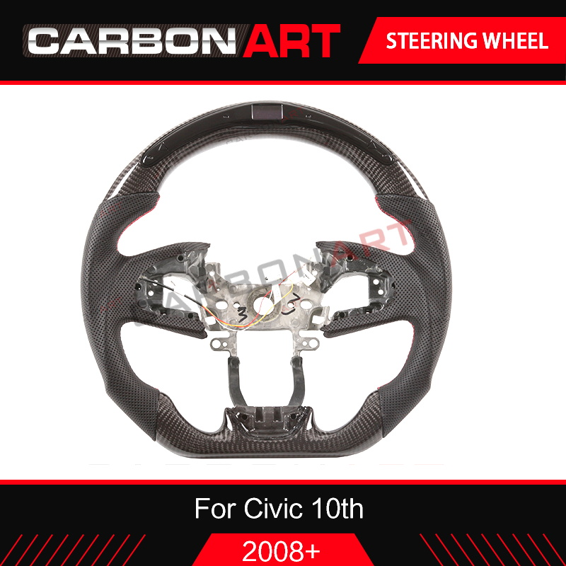 Accessories Replacement LED race display Carbon Fiber Steering Wheel For Honda Civic Type R 2016 2017 2018 2019 Car styling
