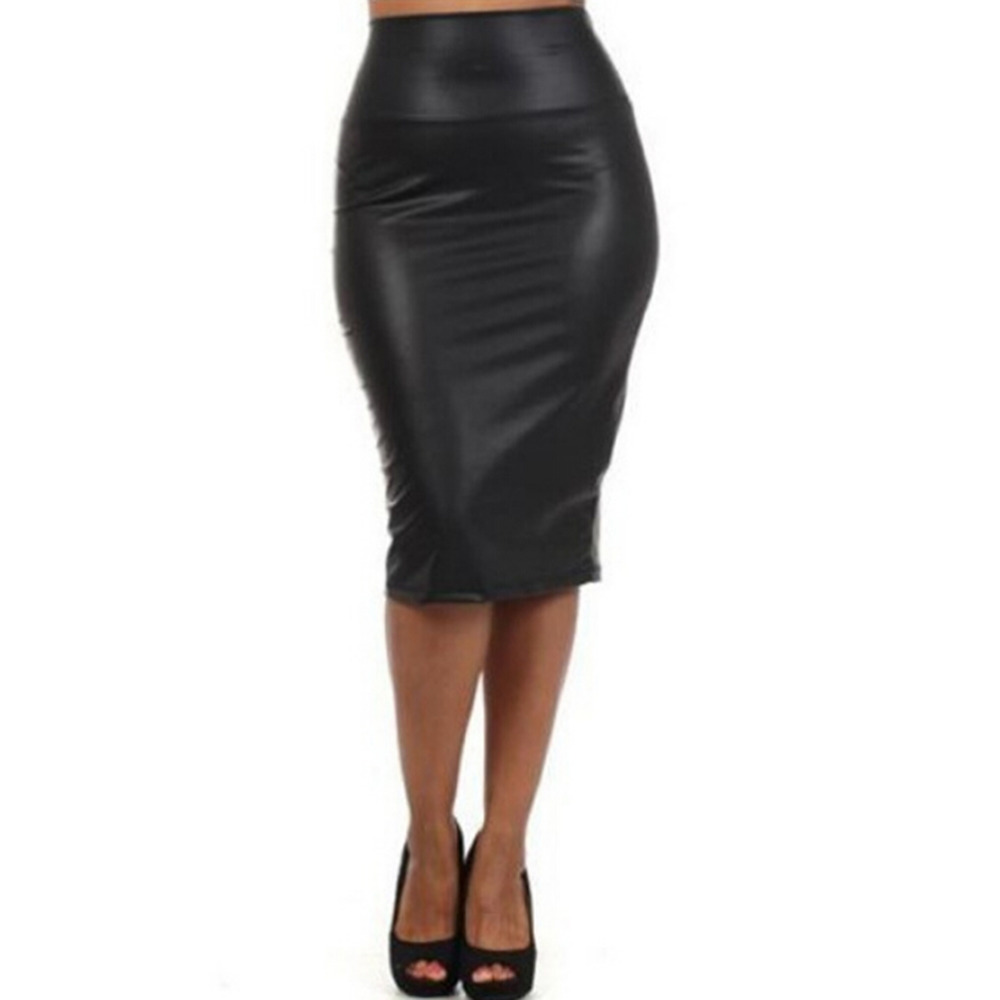Women Black PU Leather Skirt High Waist Pencil Skirts Sexy Club Vintage Bodycon Midi Skirt Winter Autumn Plus Size