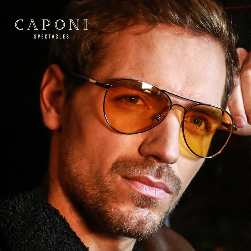 CAPONI ブランドデザイナーサングラス偏光フォトクロミック昼と夜間走行メガネ Polit ヴィンテージサングラス BSYS3104  グループ上の アパレル アクセサリー からの サングラス の中 1