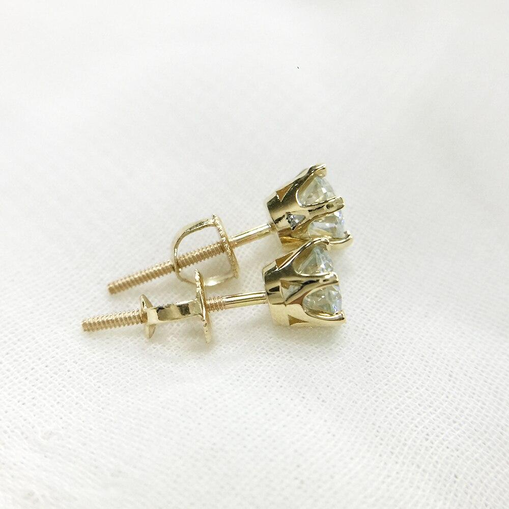 1.0ctw Carat Ronde Moissanite 14 k Jaune Or Vis Retour Boucles D'oreilles Test Positif Moissanite Diamant Pour Les Femmes