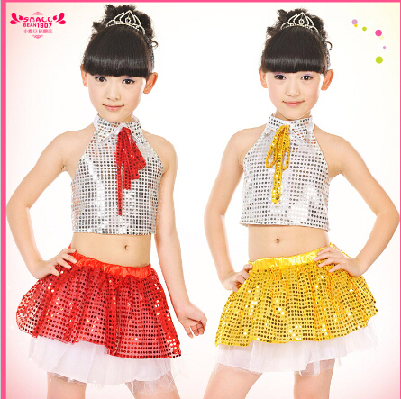 jazz dance costumes for girls 3 color glittering Jazz Dance Girls Clothing hip  hop costumes girls b09fc7c0032