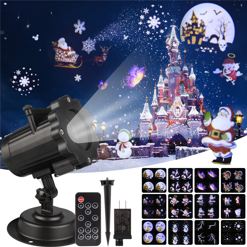 IP65 Wateproof Christmas Laser Projector Animation Outdoor Stage Lighting Effect Xmas Halloween Star Snowflake Shower Light