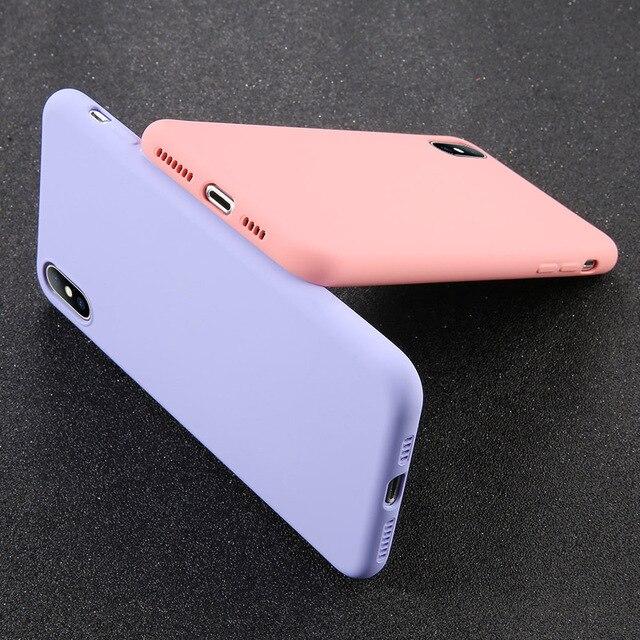 USLION Del Silicone di Caso di Colore Solido per il iPhone XS 11 Pro MAX XR X XS Max Della Caramella Custodie Del Telefono per il iPhone 11 7 6 6S 8 Più Molle Della Copertura 4