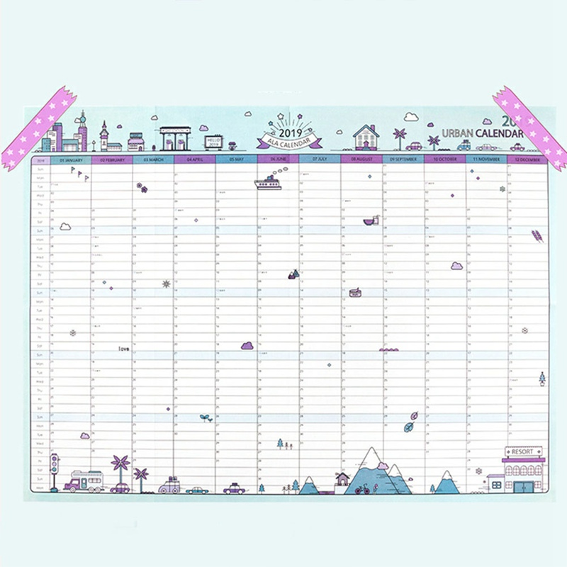 2019 365days Paper Wall Calendar Office School Daily Planner Notes, Very Large Study New Year Plan Schedule 43*58cm circle