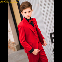 Комплект из 5 шт./компл., костюм с блейзером для мальчиков (костюм + штаны + жилет + рубашка + галстук), детский костюм для свадебной вечеринки дл