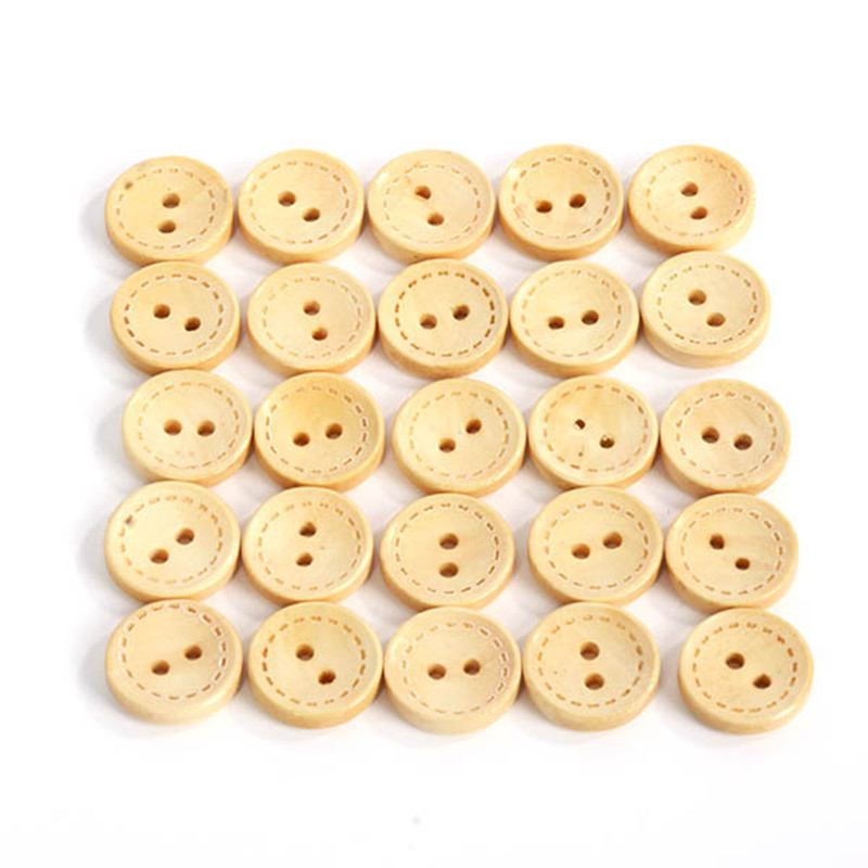 5 and 10 30mm Wooden Tree Buttons 2 Hole in Asst Colours and Pack Sizes of 2