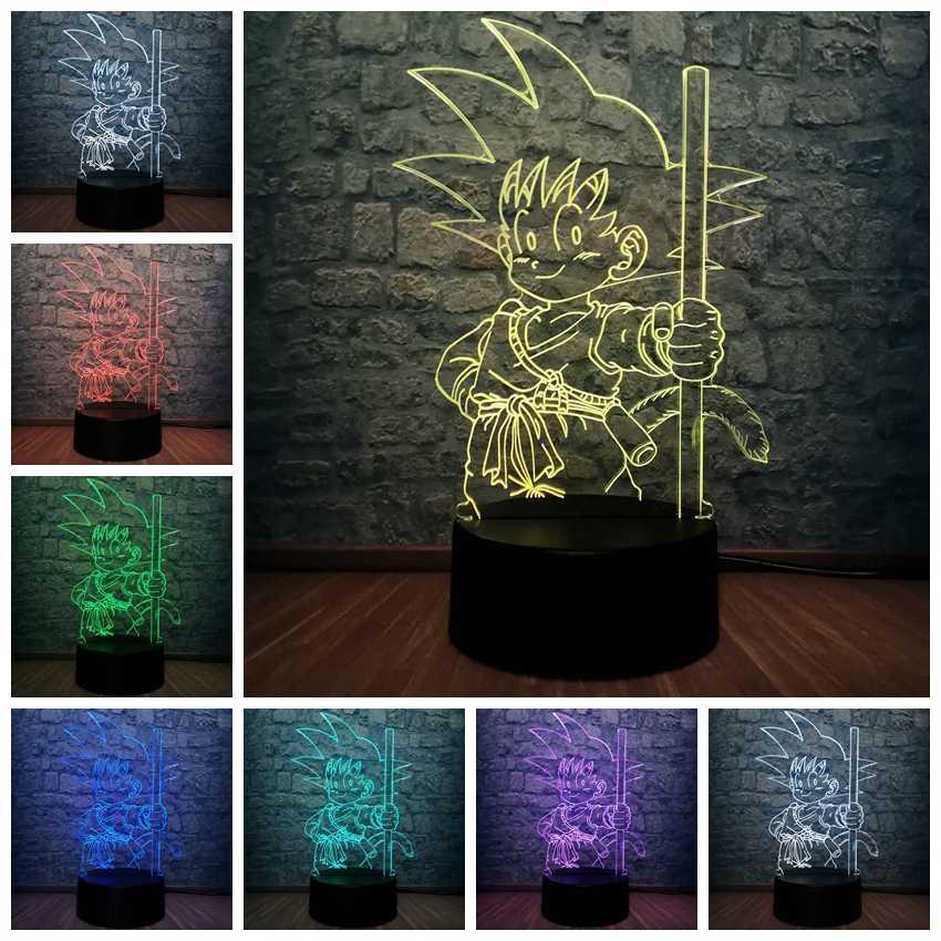 Супер Goku usb-флэш с обезьянкой светодиодный светильник 7 Dragon Ball красочная лампа настроения домашний трансформатор переменного тока ночные огни Детская Игрушка Декор для детской