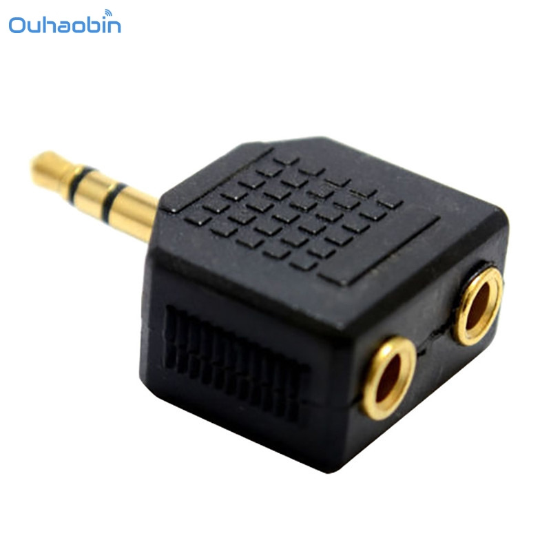 Ouhaobin Popular 3.5mm Stereo Jack Headphone Splitter Adapter 1 Plug to 2 Sockets Connector Black Cheap Earphone Y Adapter Sep4