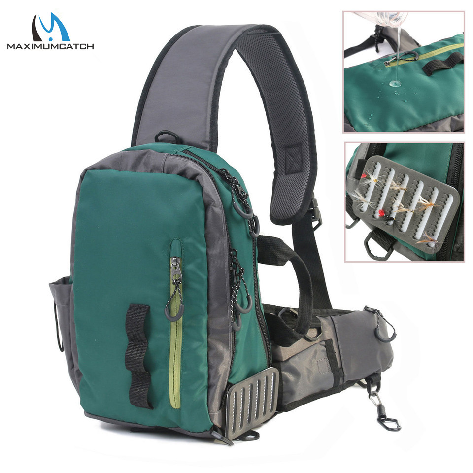 Maximumcatch Splash Waterproof Fly Fishing Sling Bag Multi-Purpose Shoulder Fishing Backpack maximumcatch fishing sling back pack outdoorsport fly fishing sling bag with fly patch