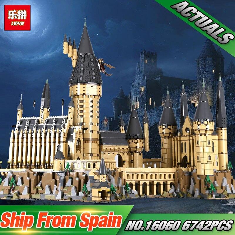 Lepin 16060 Harry Film Potter Série Le 71043 Poudlard Château Ensemble Blocs de Construction Briques Enfants Jouets Maison Modèle De Noël Cadeaux