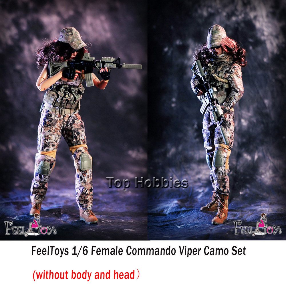 FeelToys 003 1/6 Female Commando Viper Camo Set W Gun Model Combat Suit For 12 inches HT PH Body Figures (without body and head) viper 1 mgd