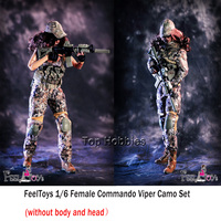 FeelToys 003 1/6 Female Commando Viper Camo Set W Gun Model Combat Suit For 12 inches HT PH Body Figures (without body and head)